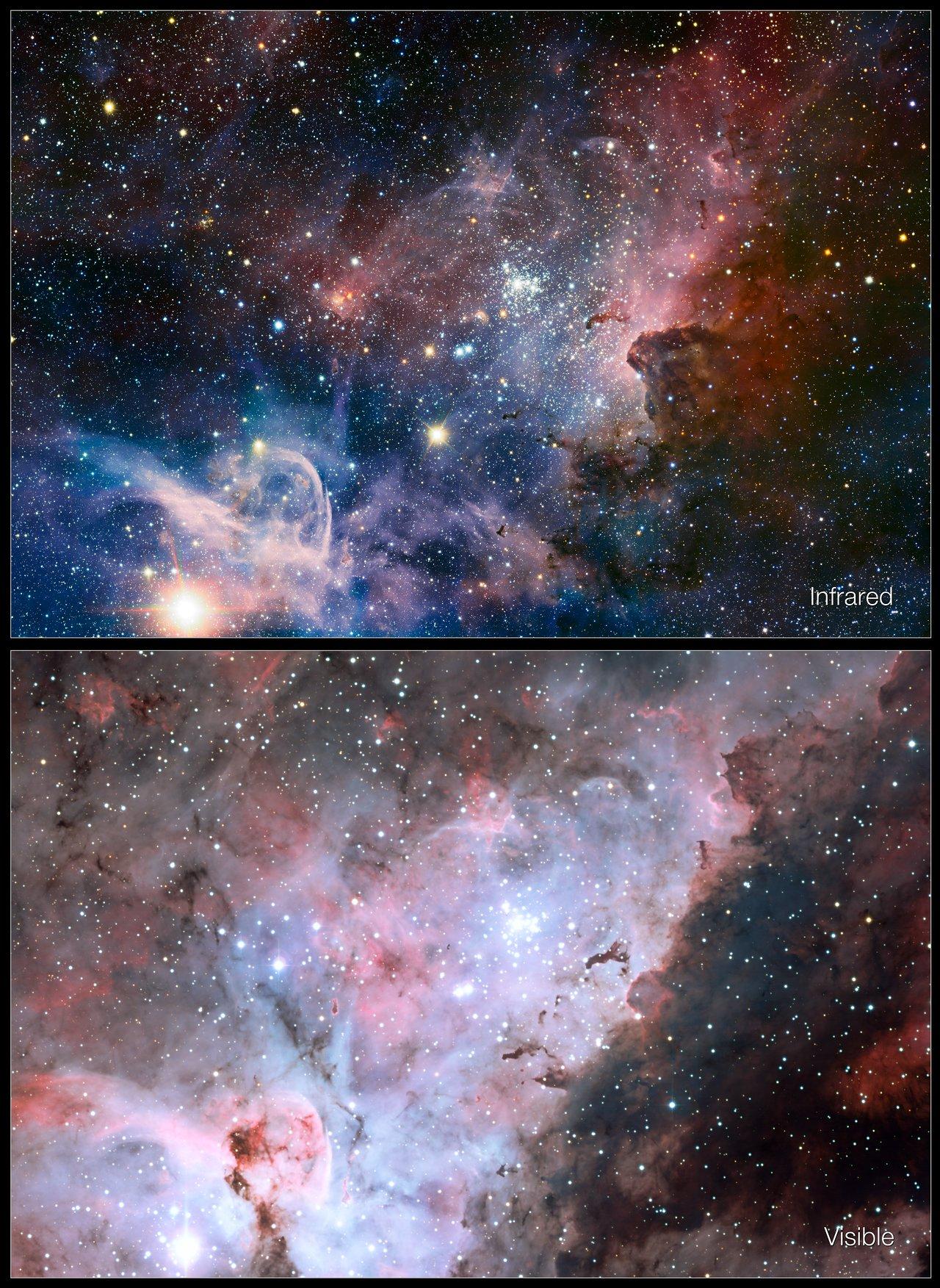 Vergleichsbild des Carinanebels im Infraroten und im sichtbaren Licht