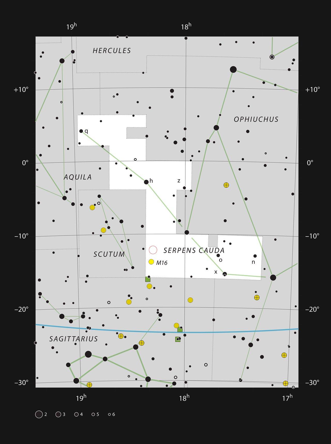 O enxame estelar NGC 6604 na constelação da Serpente