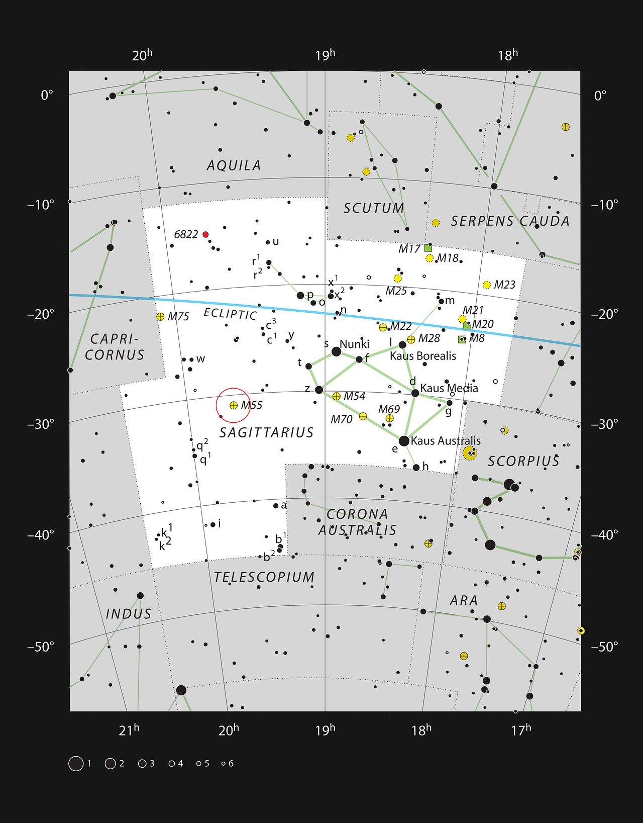 O aglomerado globular Messier 55 na constelação do Sagitário