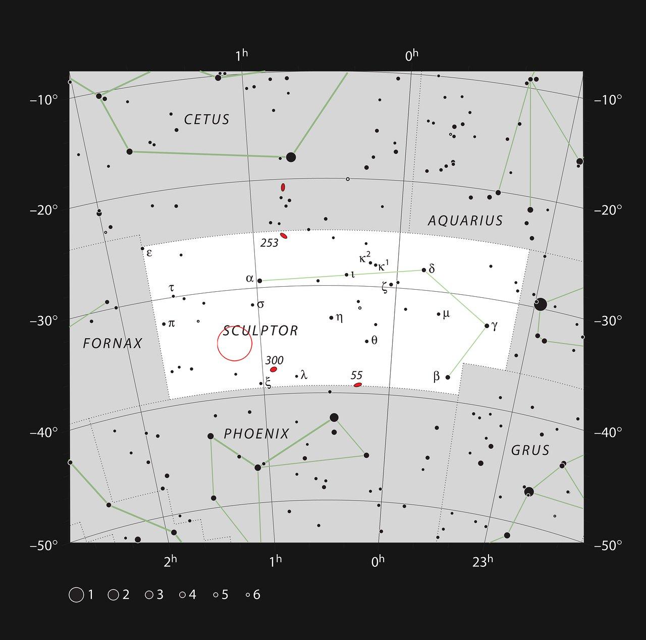 Die Position des Quasars HE0109-3518