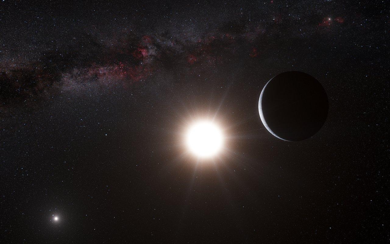 Taiteilijan näkemys Alfa Centauri B -tähteä kiertävästä planeetasta