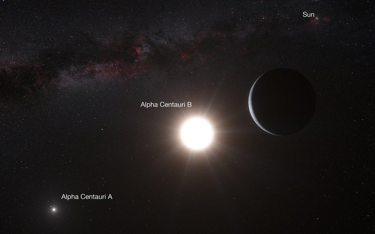 Artist's impression van de planeet bij Alfa Centauri B (geannoteerd)