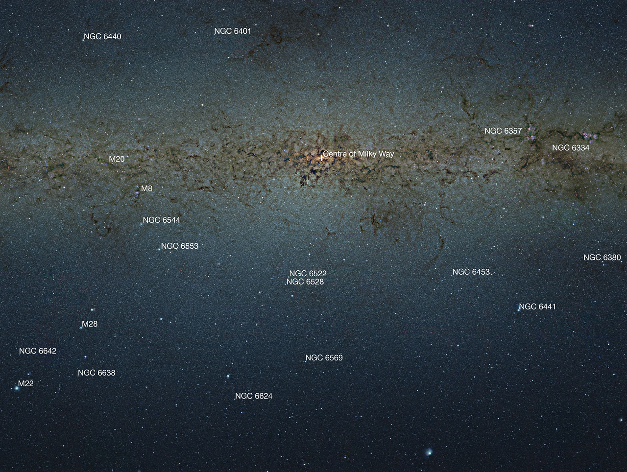 Annotated map of VISTA's view of the centre of the Milky Way