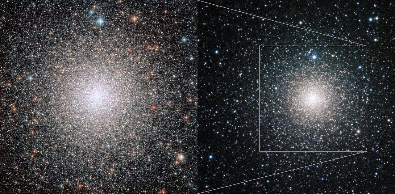 NGC 6388 séð frá jörðinni og utan úr geimnum