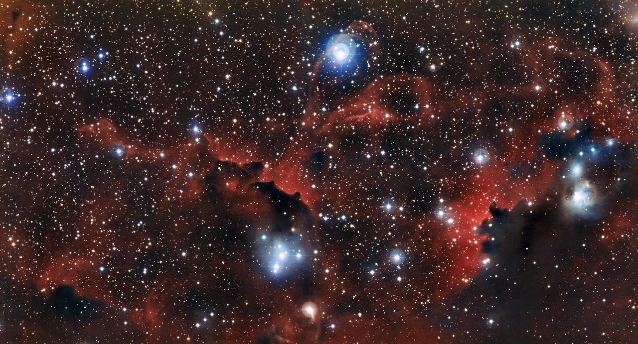 La brillante nube Sharpless 2-296, parte de la Nebulosa de la Gaviota