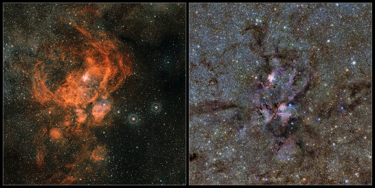 Comparison of VISTA image of NGC 6357 with a visible light image