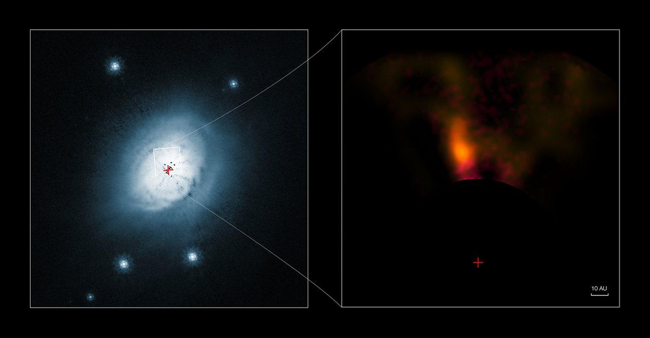 Imágenes del sistema protoplanetario HD 100546 obtenidas por el VLT y el Hubble
