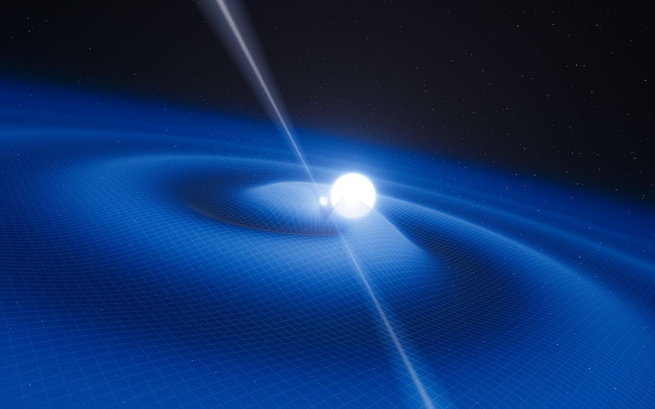 Concepção artística do pulsar PSR J0348+0432 e da sua companheira anã branca