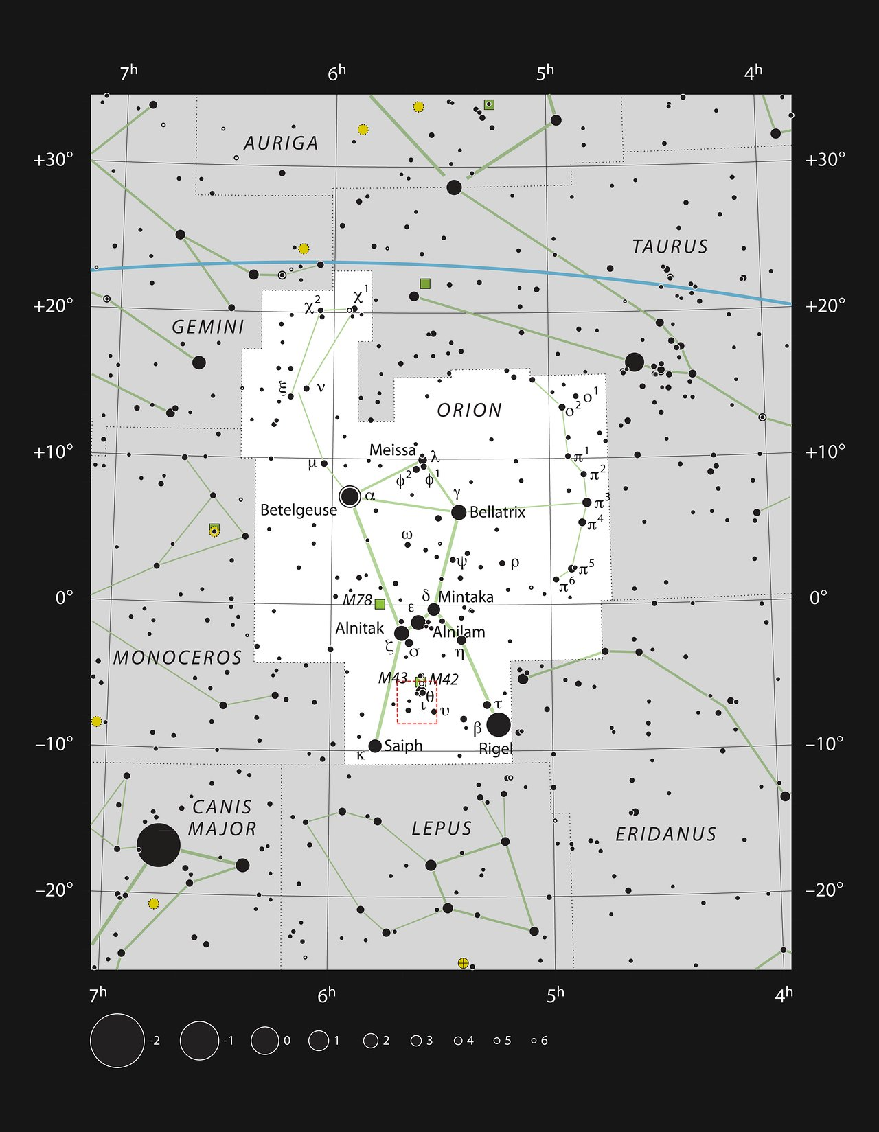 A constelação de Órion e a região mostrada na nova imagem APEX