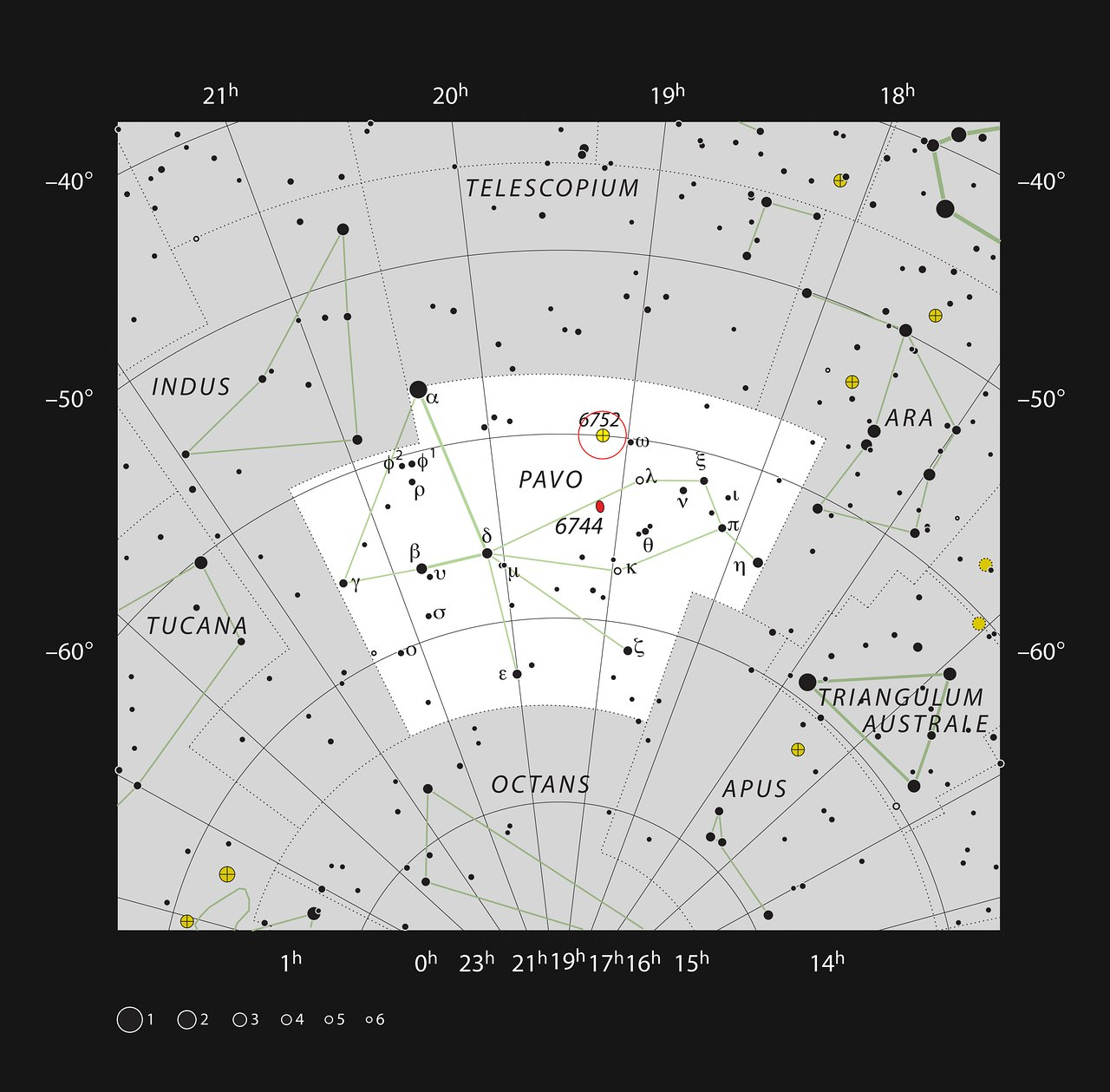 De bolvormige sterrenhoop NGC 6752 in het sterrenbeeld Pauw