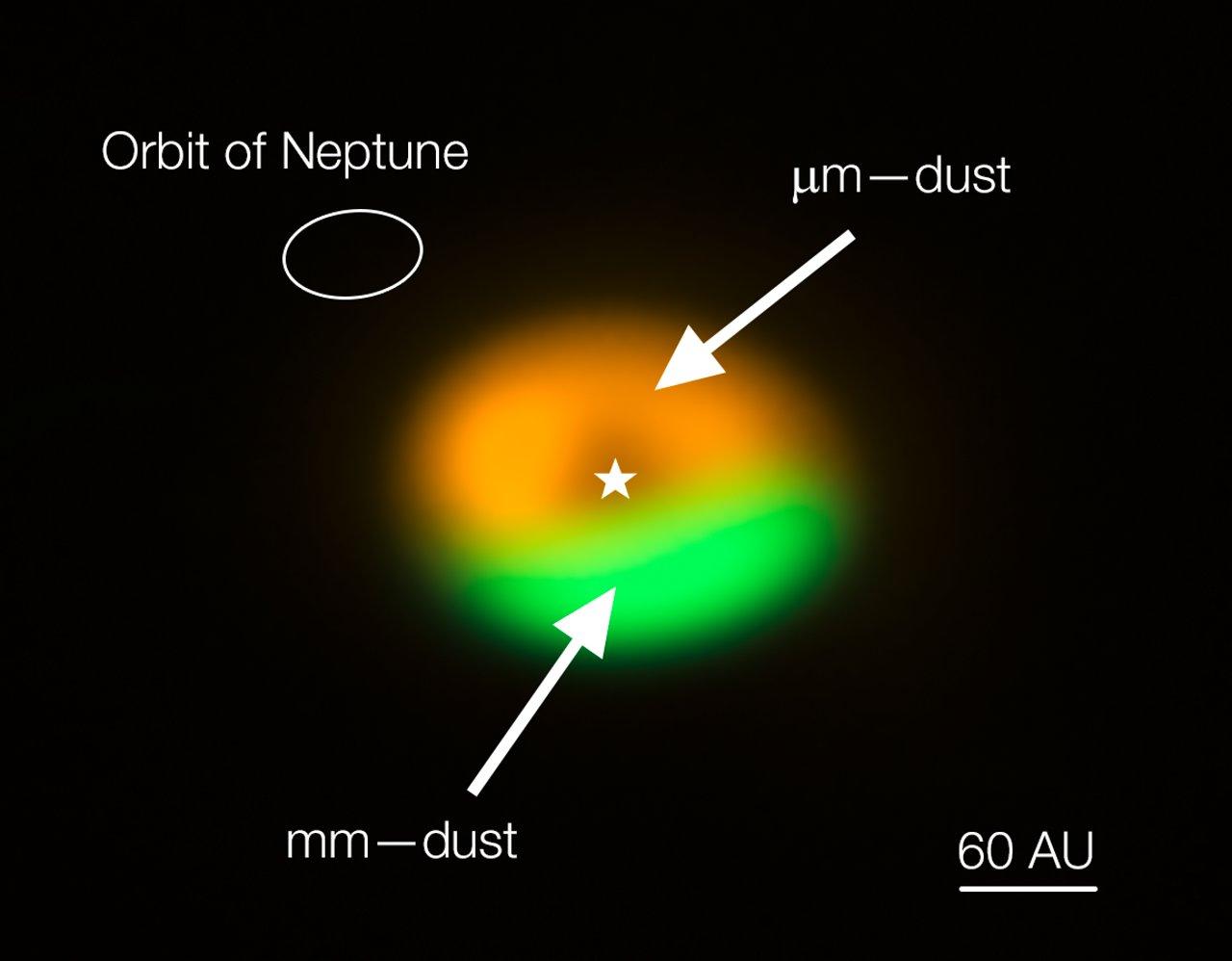 ALMA-Aufnahme der Staubfalle und Kometenfabrik um Oph-IRS 48 (beschriftet)
