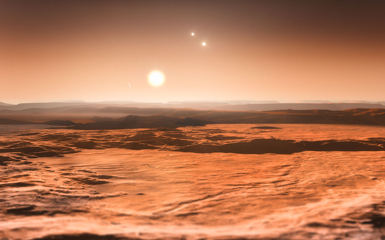 Artist's impression van het Gliese 667C-stelsel