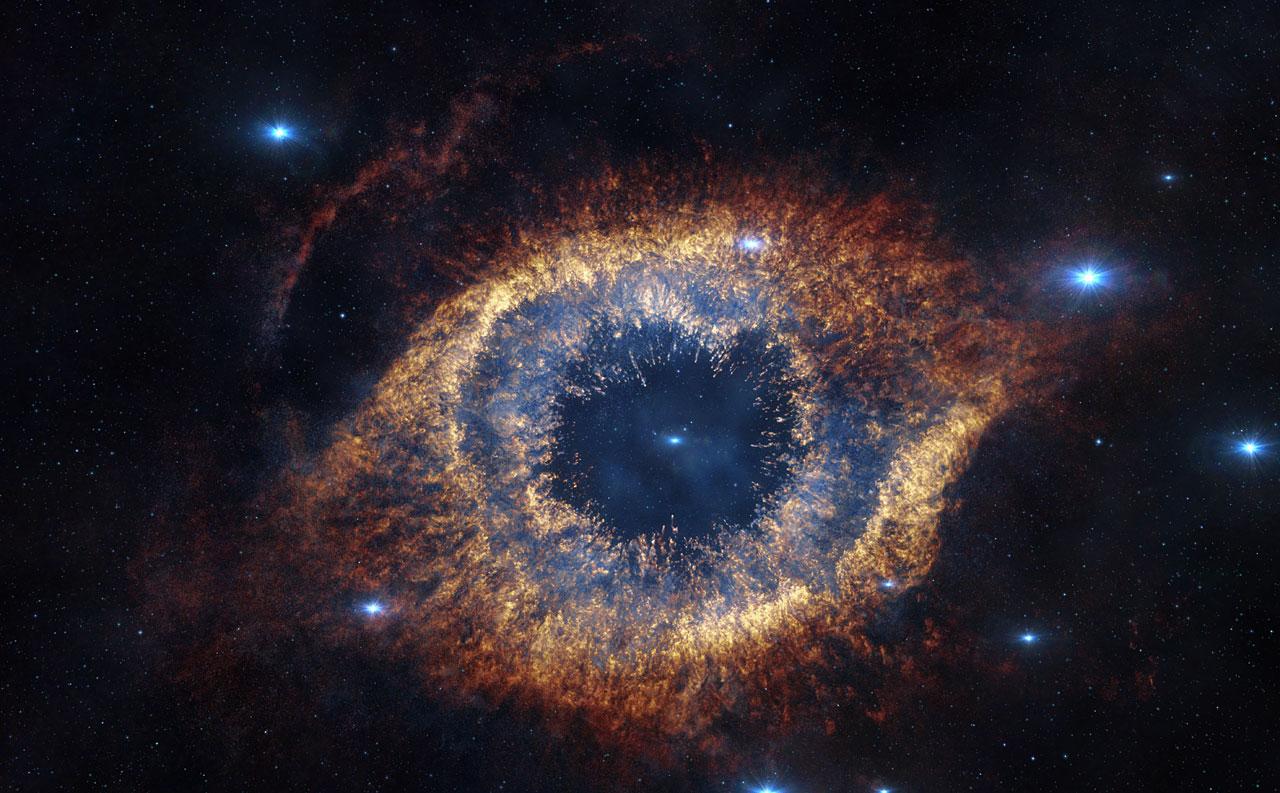 Capture d'écran du film IMAX® 3D L'Univers Caché montrant la nébuleuse de l'Hélice dans l'infrarouge