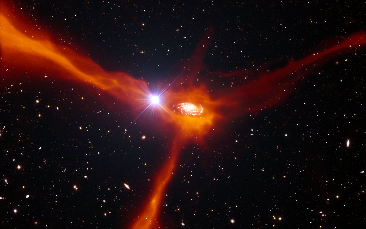 Artist's impression of a galaxy accreting material from its surroundings