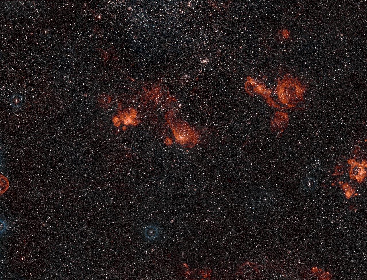 Vue à grand champ de NGC 2014 et NGC 2020 dans le Grand Nuage de Magellan
