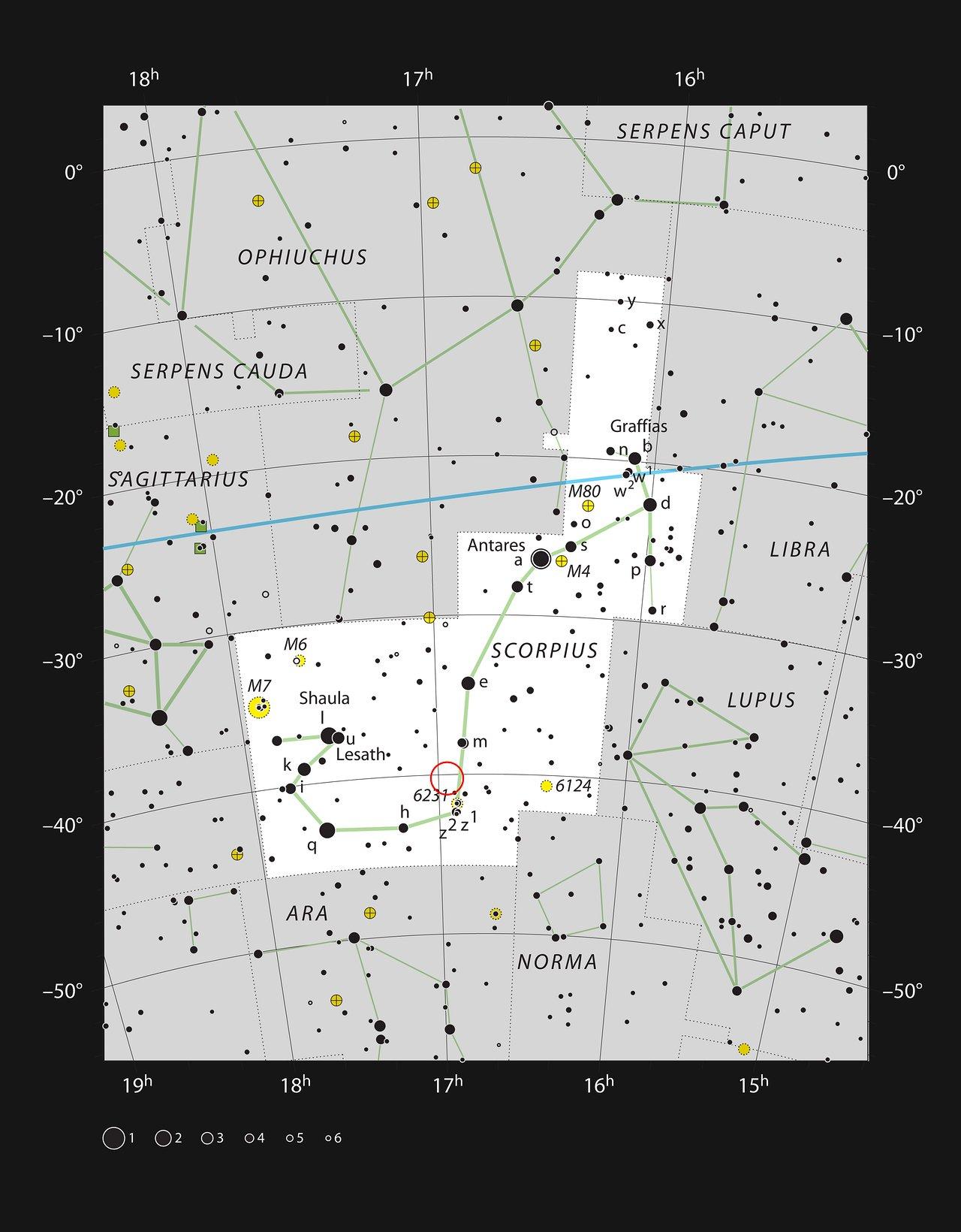 Mgławica Krewetka IC 4628 w konstelacji Skorpiona