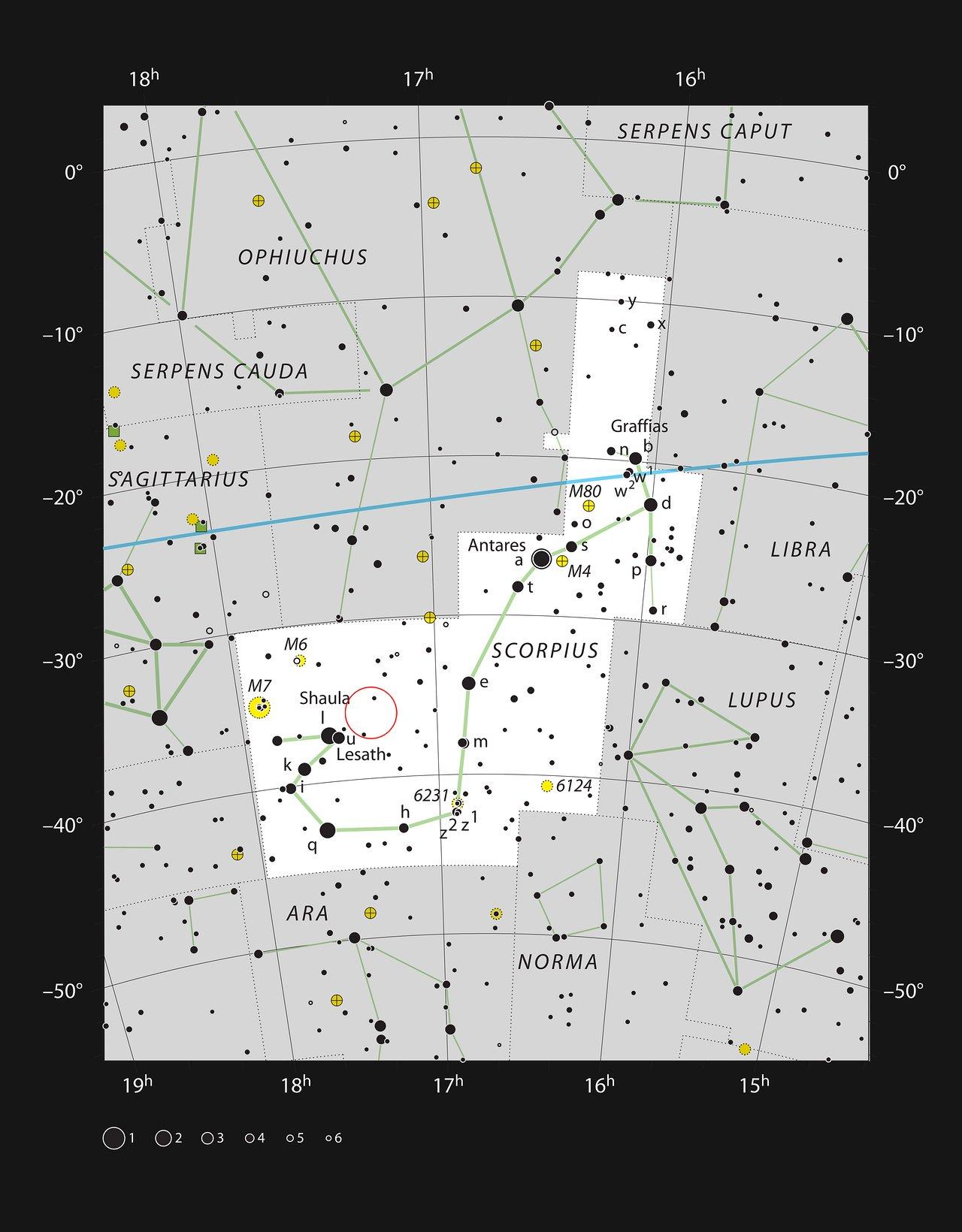 De stellaire kraamkamer NGC 6334 in het sterrenbeeld Schorpioen