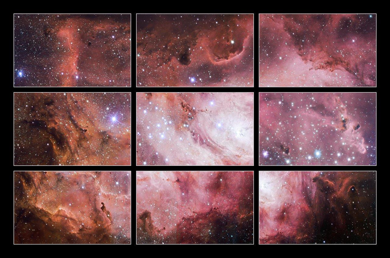 Utsnitt ur en VST-bild av Lagunnebulosan