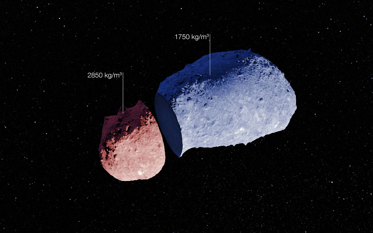 Vista esquemática do asteróide (25143) Itokawa