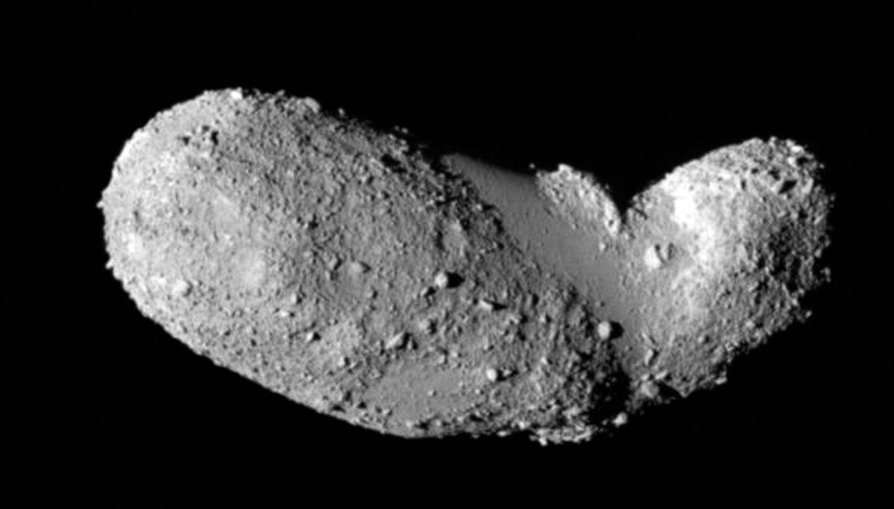 Close-up van planetoïde (25143) Itokawa