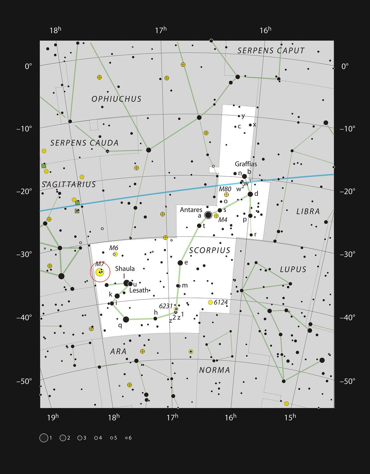 Il brillante ammasso stellare Messier 7 nella costellazione dello Scorpione