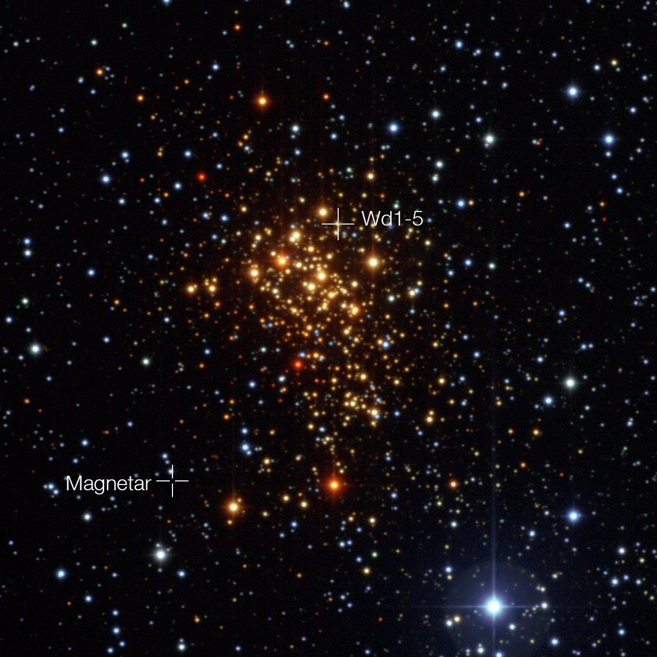 De sterrenhoop Westerlund 1 en de posities van de magnetar en zijn waarschijnlijke voormalige begeleider