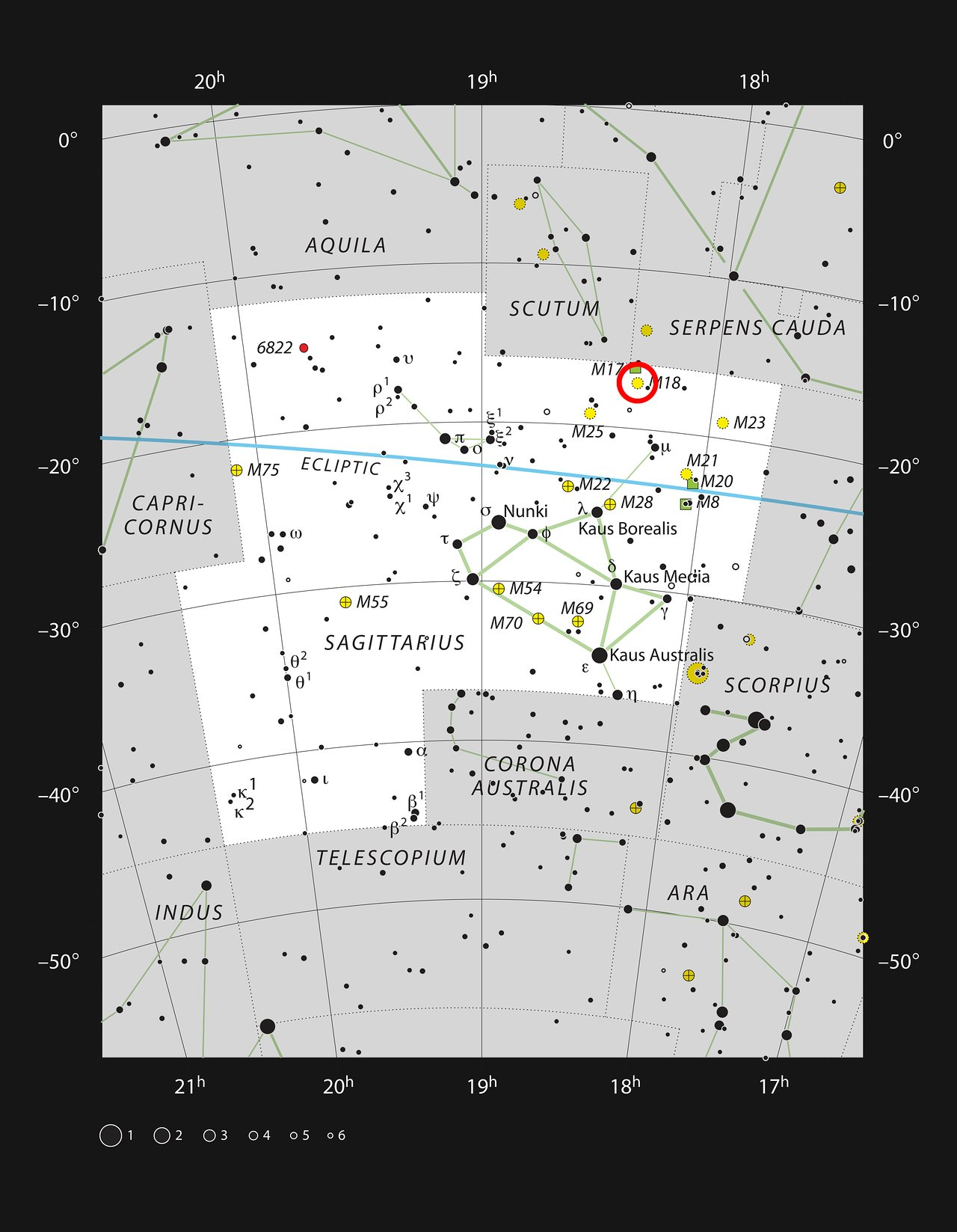 The star cluster Messier 18 in the constellation of