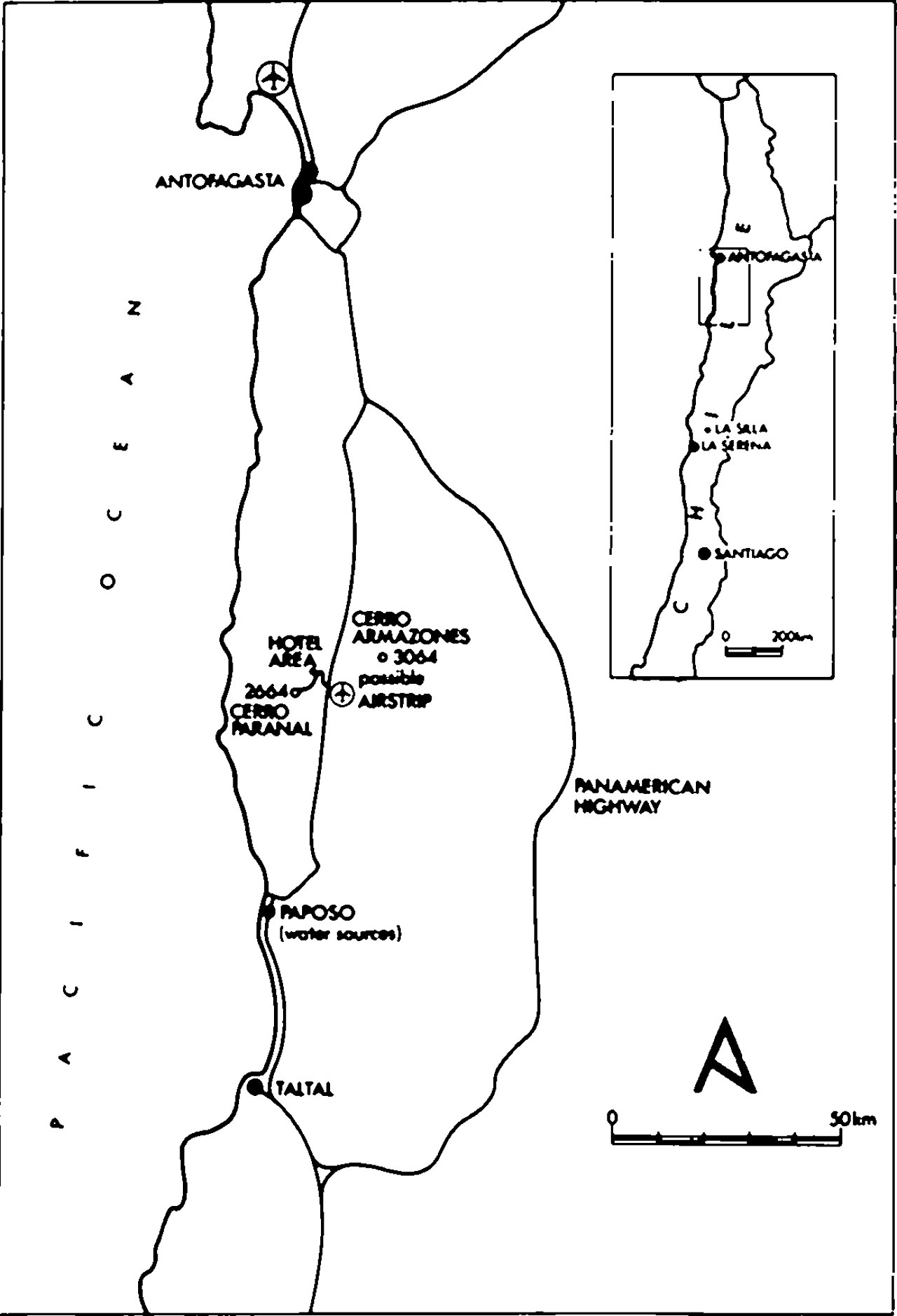A map of northern Chile, with the location of Cerro Paranal indicated