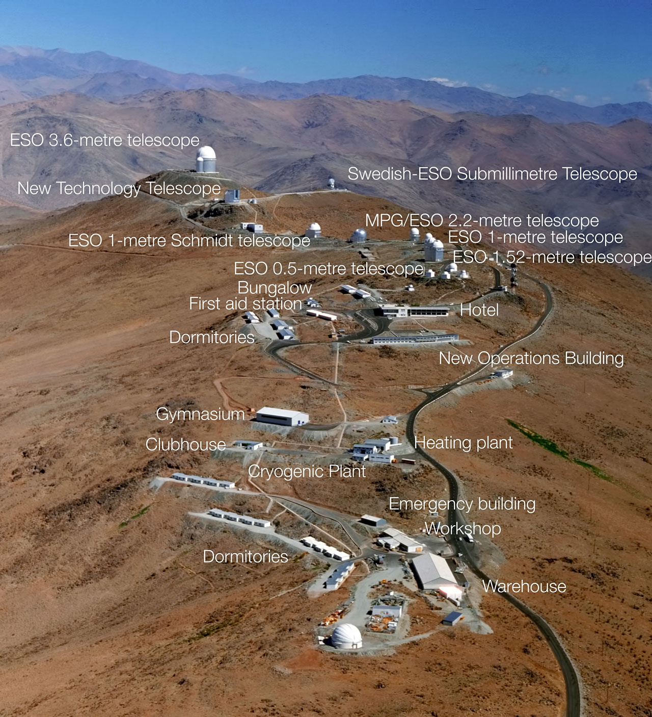 Aerial view of La Silla (annotated) | ESO