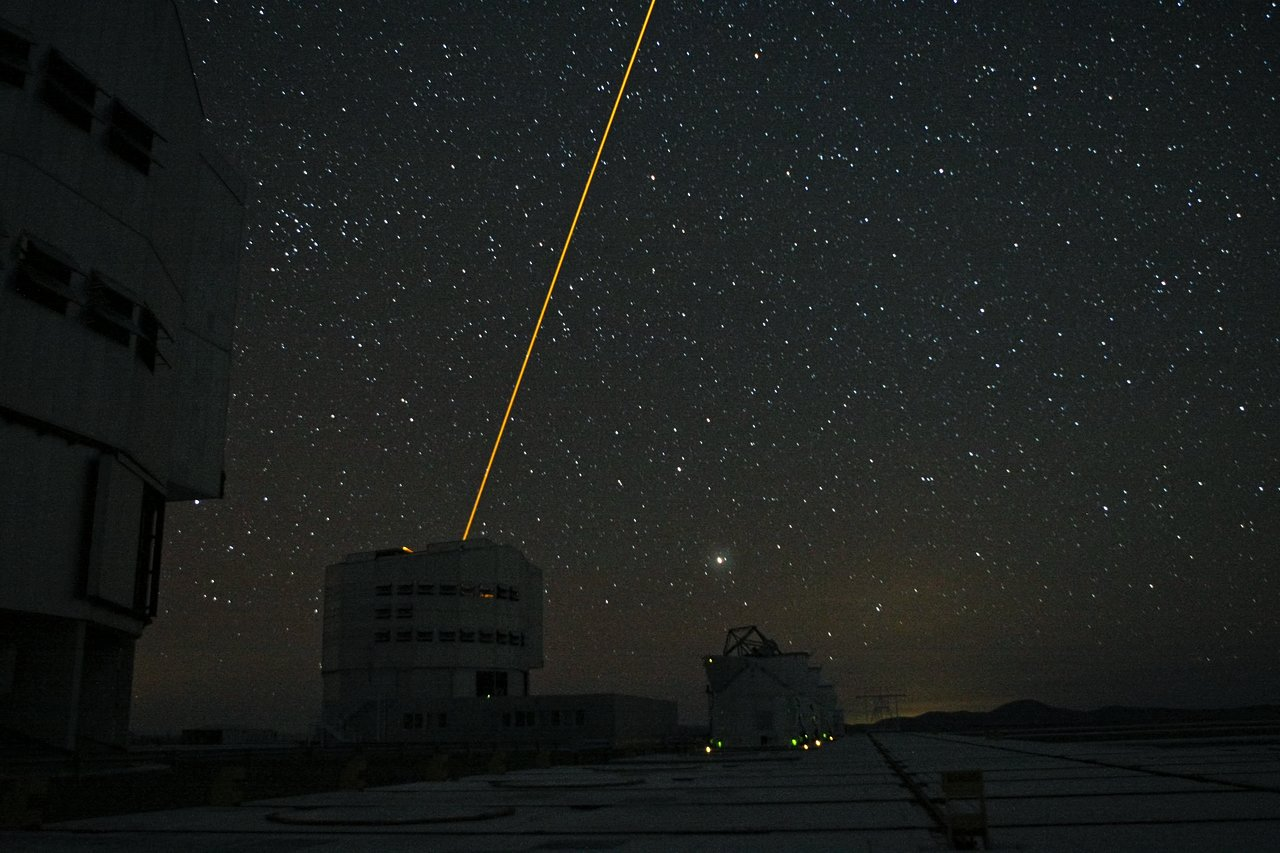 Night Sky at Paranal showing Laser Guide Star