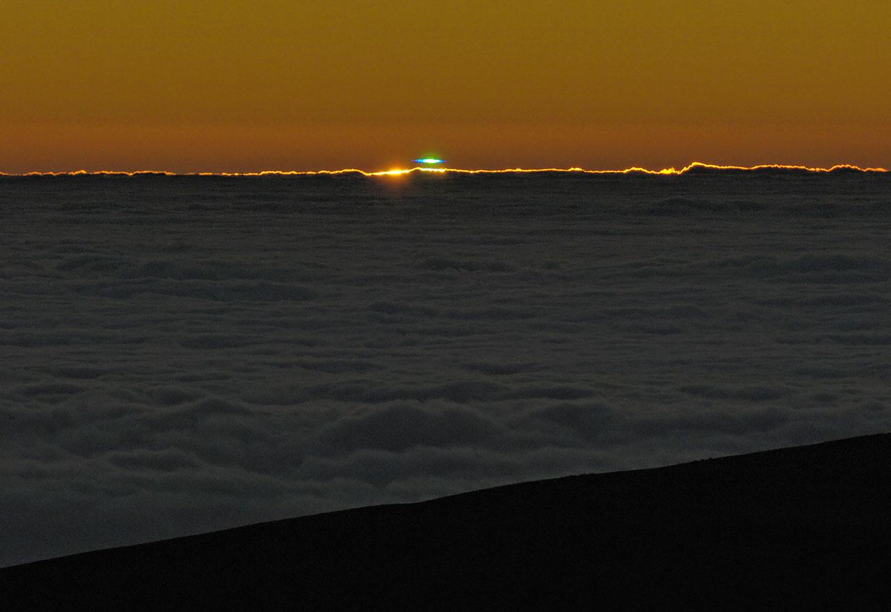 A blue-green flash at Paranal Observatory