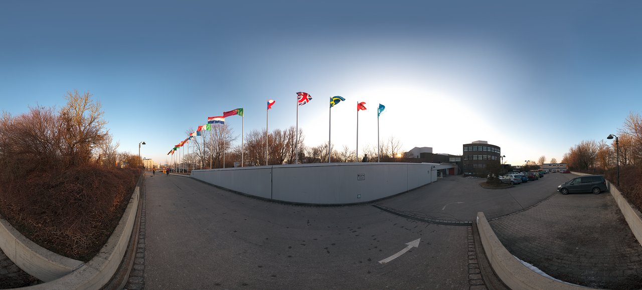 ESO Headquarters with flags flying