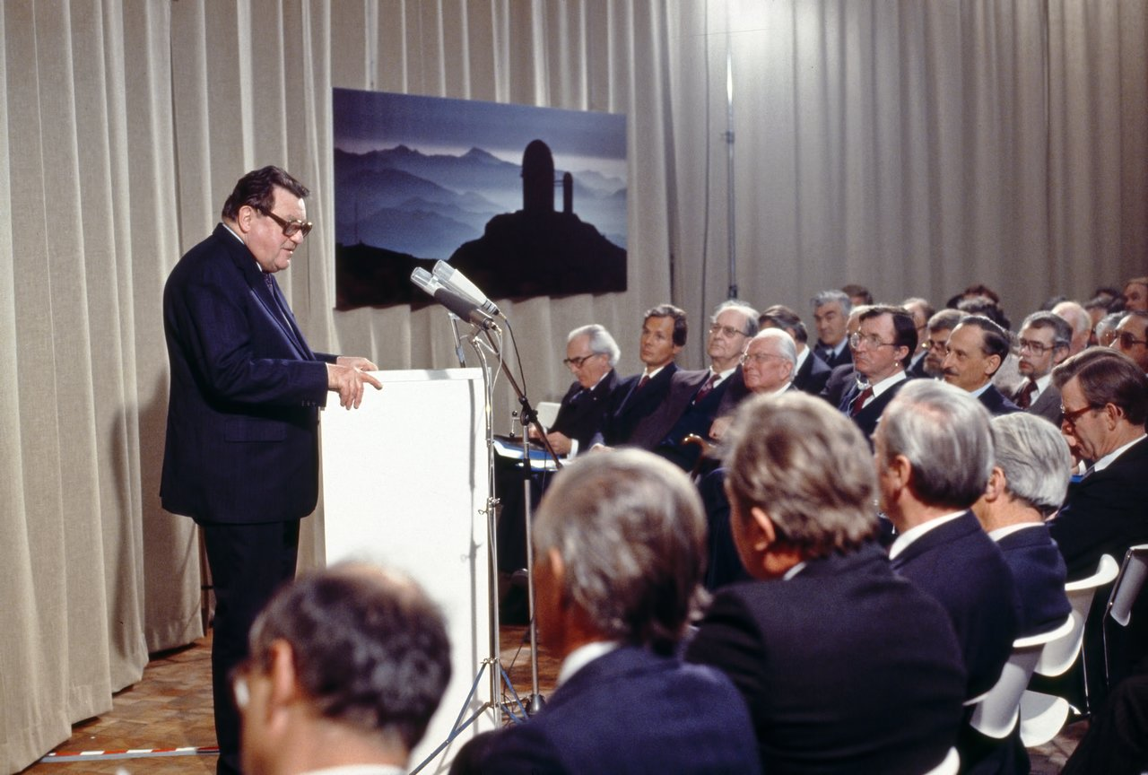 Franz-Josef Strauss during ESO HQ inauguration