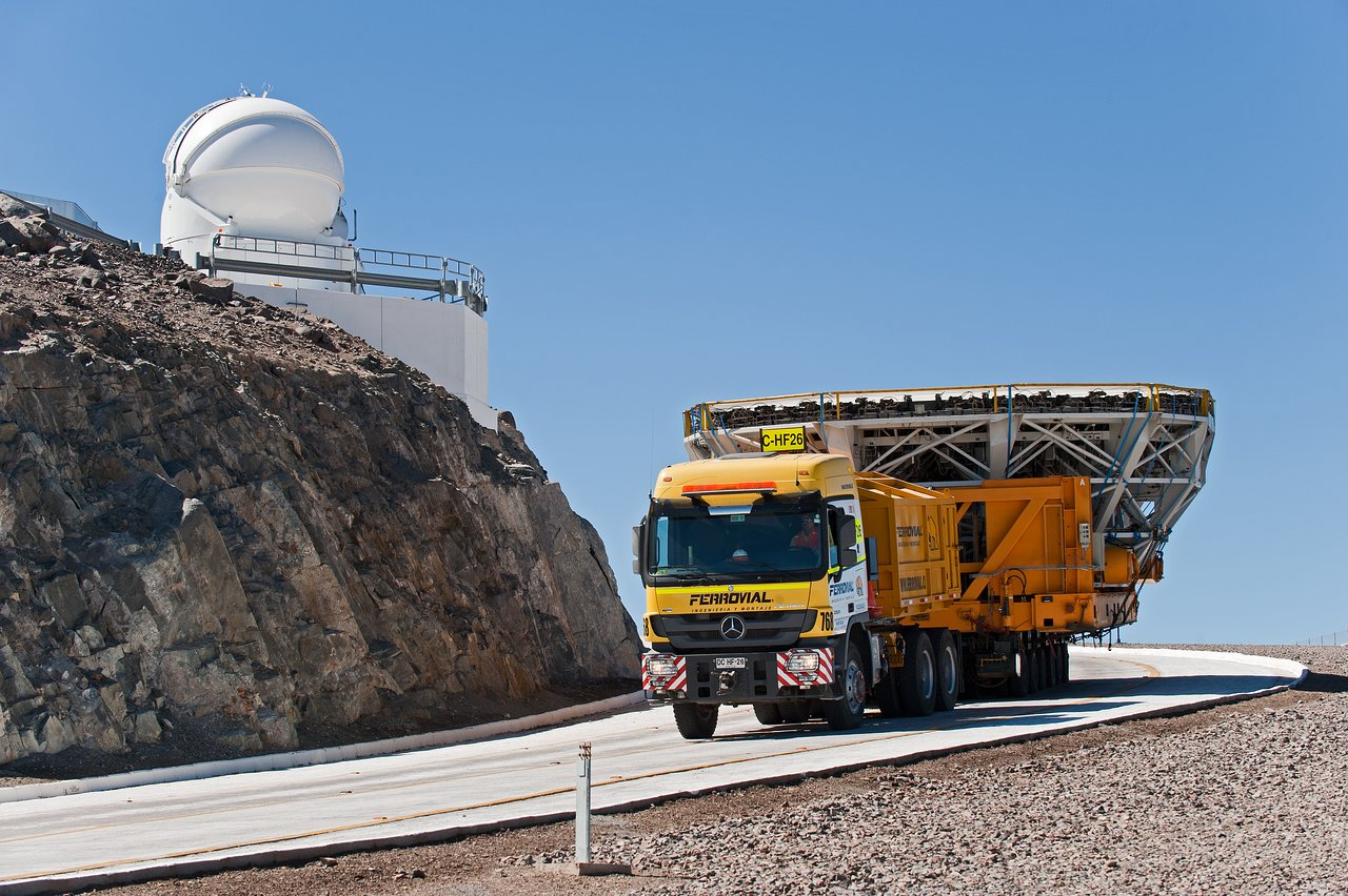 Very Large Telescope mirror cell and Auxiliary Telescope in the background