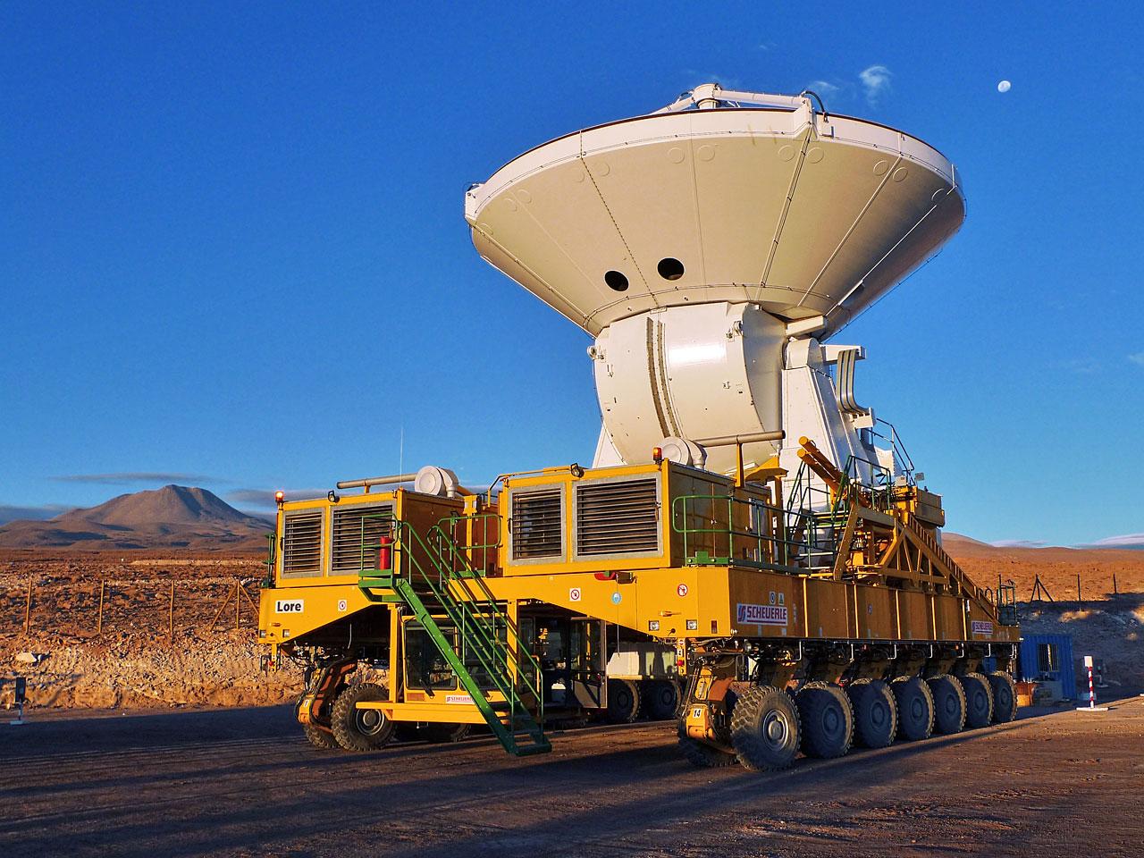 A European ALMA antenna takes a ride on a transporter