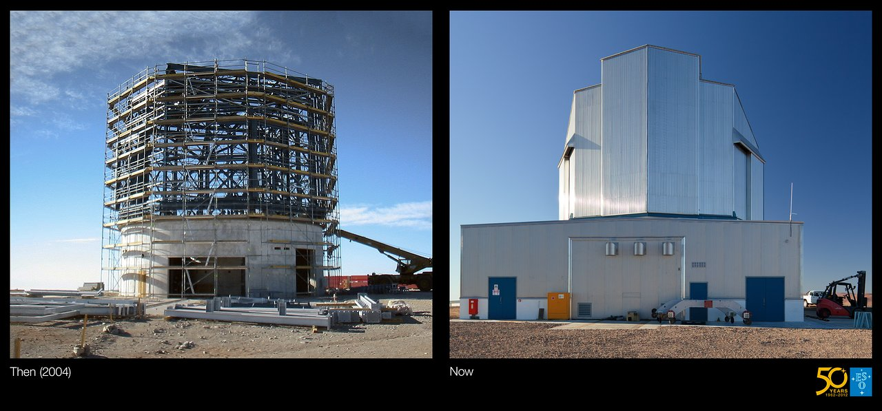 Building VISTA, the World's Largest Survey Telescope (side-by-side composite)