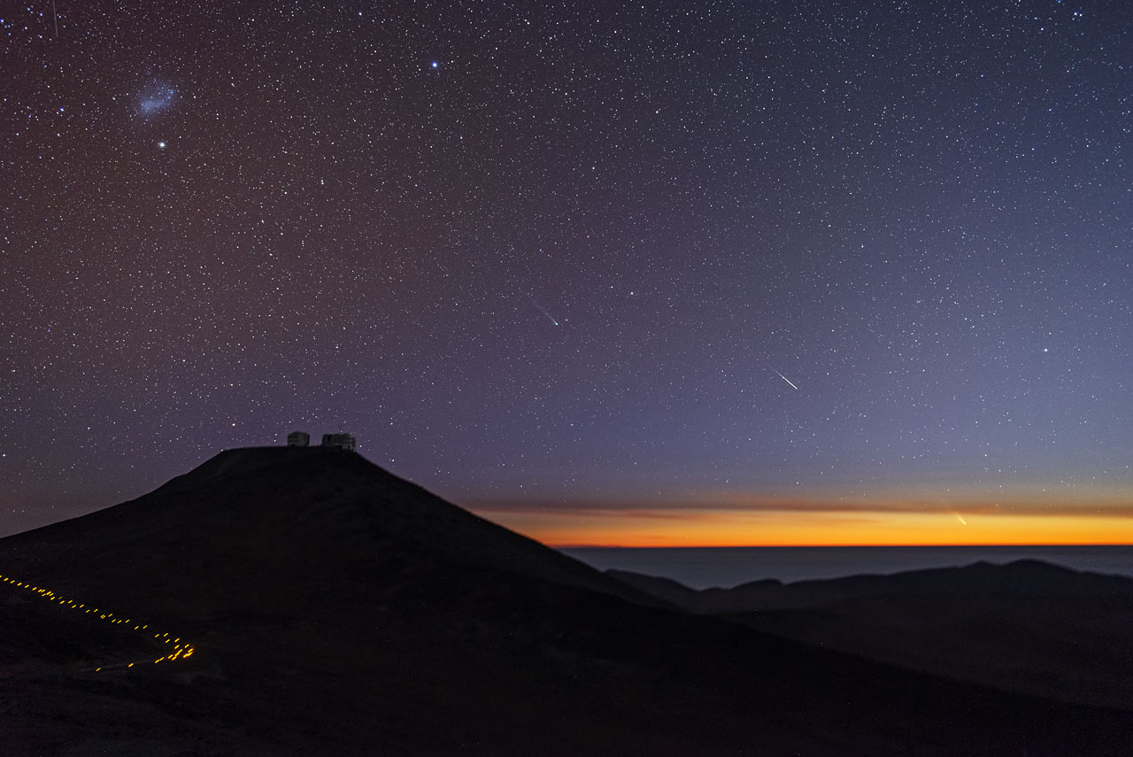 Comets and Shooting Stars Dance Over Paranal