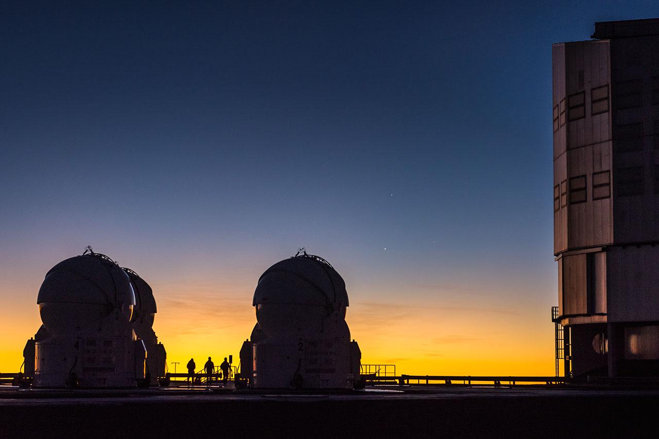 Three people, three telescopes and three planets