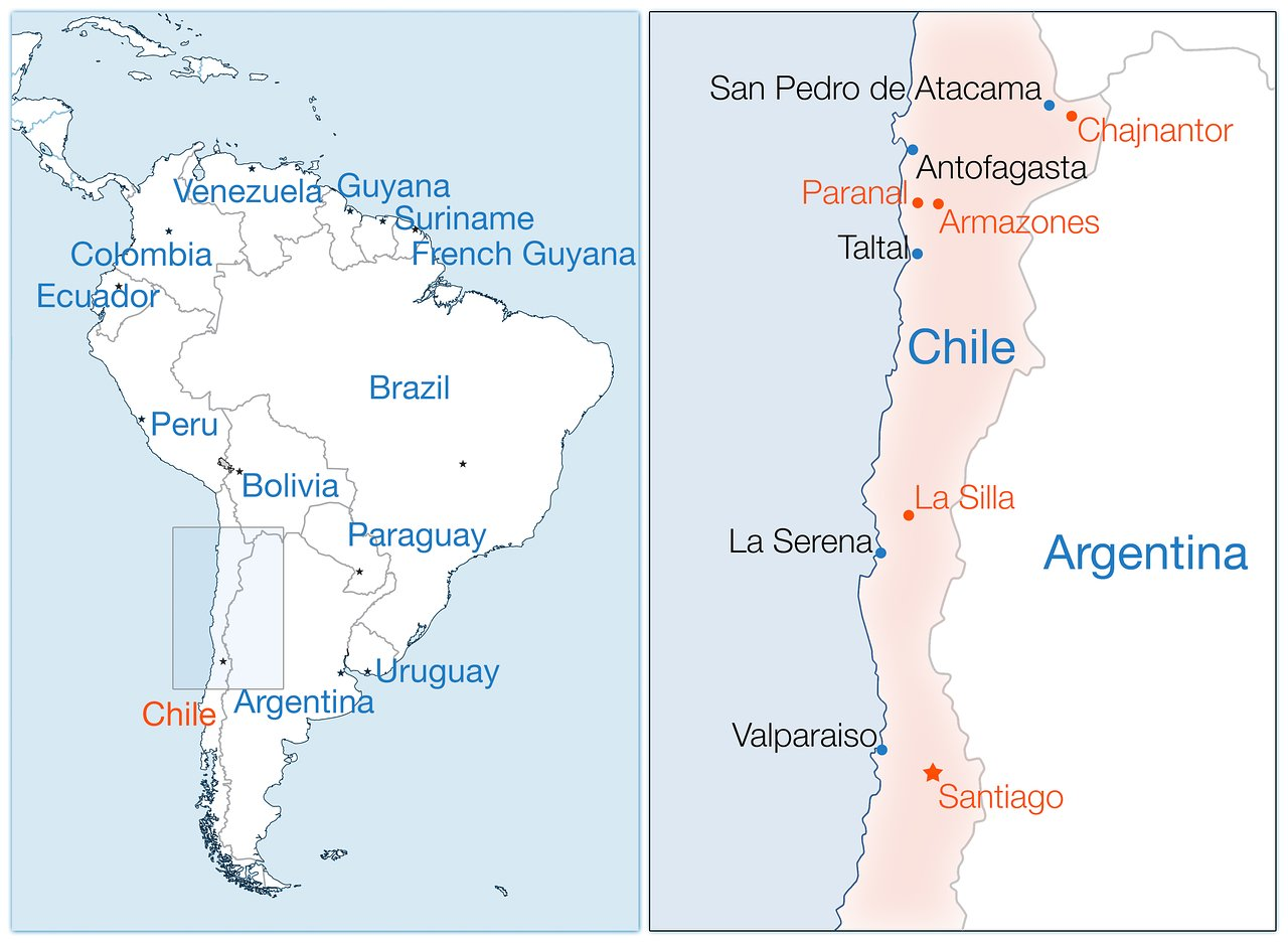 South America map ESO | ESO