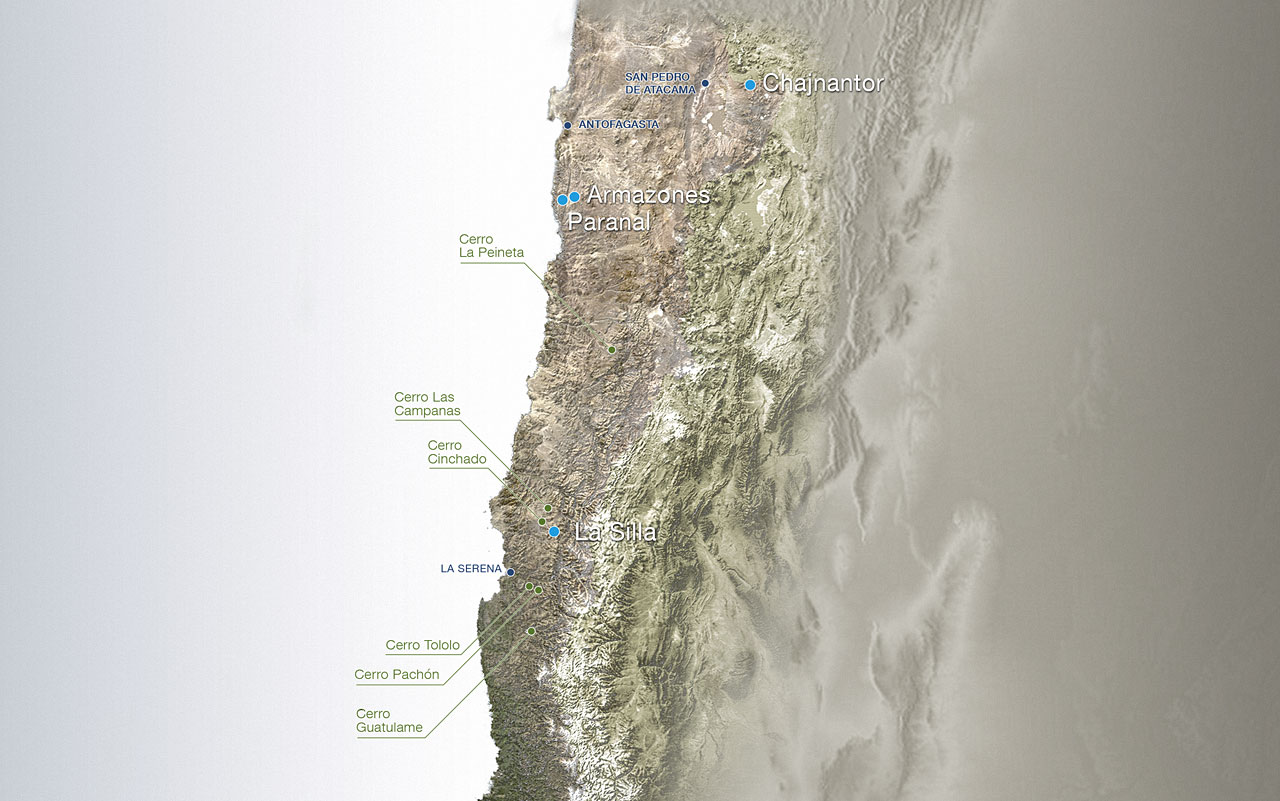 Map of ESO Outposts in Chile