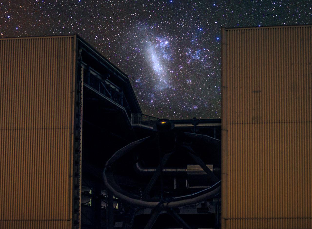 Large Magellanic Cloud Captured Between a Unit Telescope