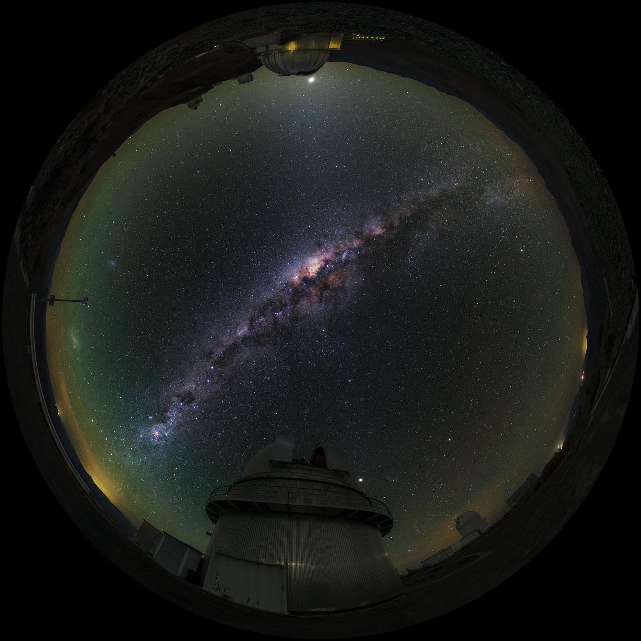 Fish-Eye View of La Silla Telescopes Shown in UHD