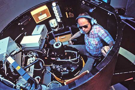 In the observer's seat of the ESO 3.6-metre telescope