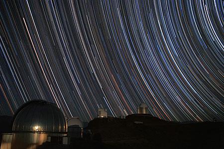 Star trails over the MPG/ESO 2.2-metre telescope