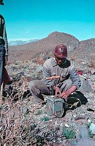 Preparing explosives during La Silla construction