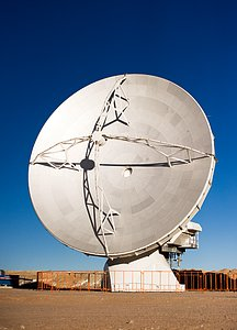 One of the first ALMA antennas on Chajnantor