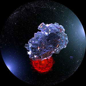 Artist's impression of an ice water crystal