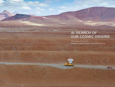 Cover of the ALMA photo book In Search of Our Cosmic Origins