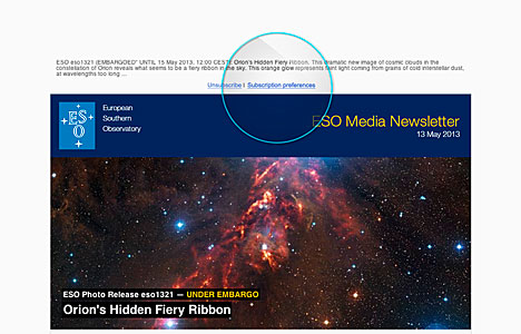 Screenshot of The ESO Media Newsletter as seen when received via email