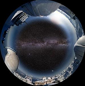 """Screenshot from the planetarium show """"Le Navigateur du Ciel"""" showing Pic du Midi"""